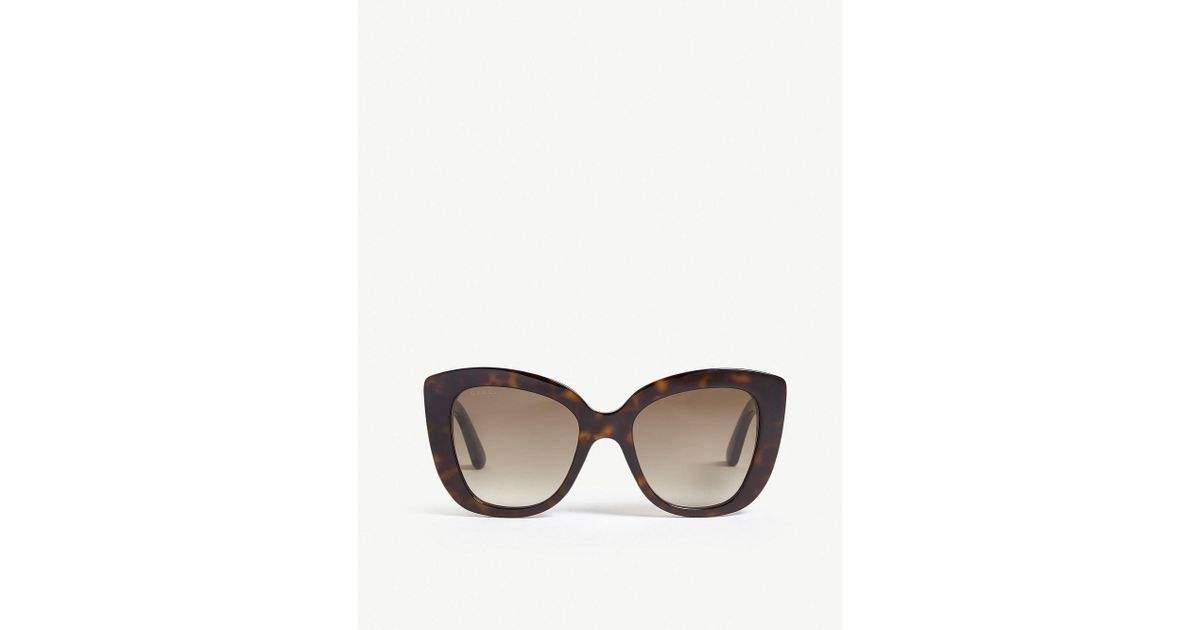 10a2065d301 Gucci Havana Gg0327s Cat-eye Frame Sunglasses in Brown - Lyst