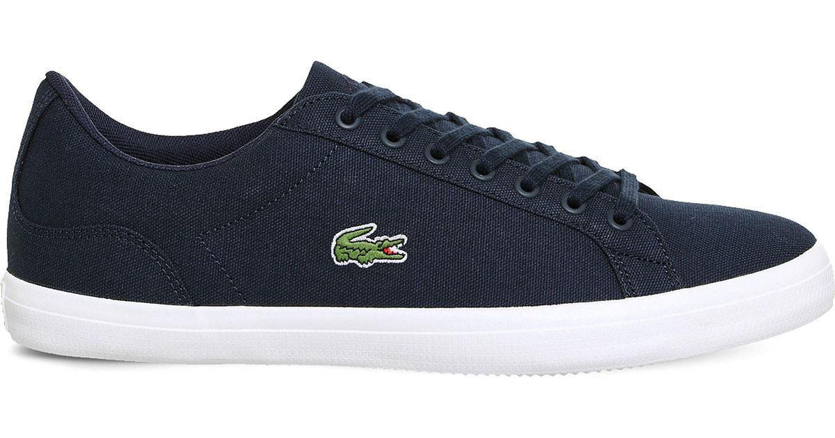 0d246bc2b2ef Lyst - Lacoste Lerond Canvas Trainers in Blue for Men