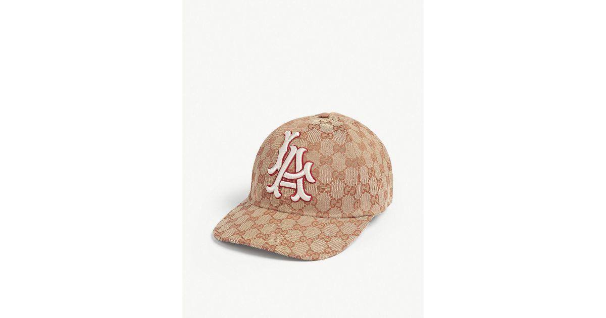 4d86b76e9ab317 Lyst - Gucci La Dodgers Baseball Cap in Natural for Men