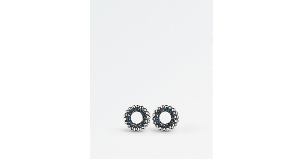 b8b0e8ca057 Lyst - Links of London Effervescence Sterling Silver And Blue Diamond Stud  Earrings in Black
