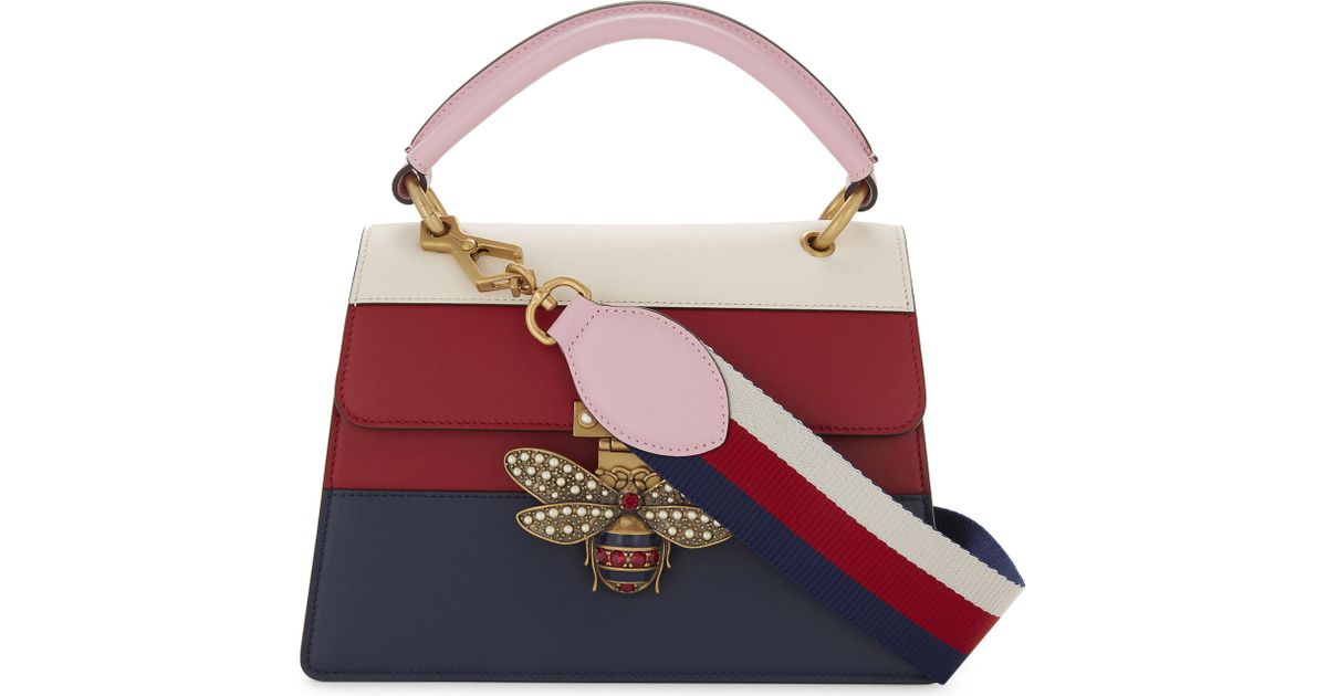aca1fc8591204 Lyst - Gucci Bee Clasp Striped Leather Shoulder Bag in Red