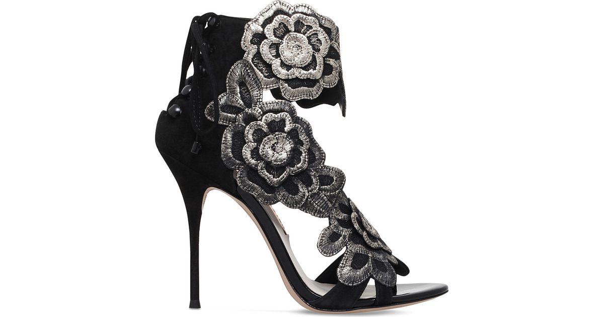 245e32e52cbd Lyst - Sophia Webster Winona Floral-embroidered Suede Sandals in Black
