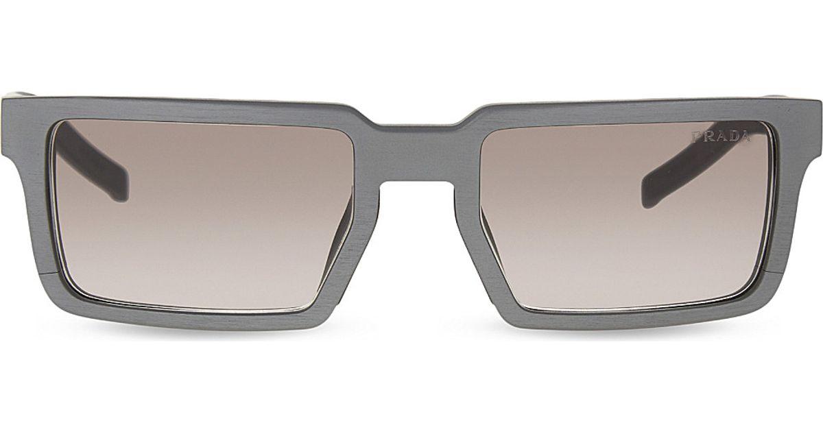 59e37557ad6c Lyst - Prada Pr50ss Rectangle-frame Sunglasses in Gray