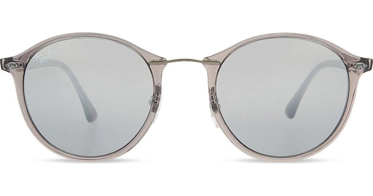 85a574db3bf Lyst - Ray-Ban Rb4242 Mirrored Round-frame Sunglasses in Gray