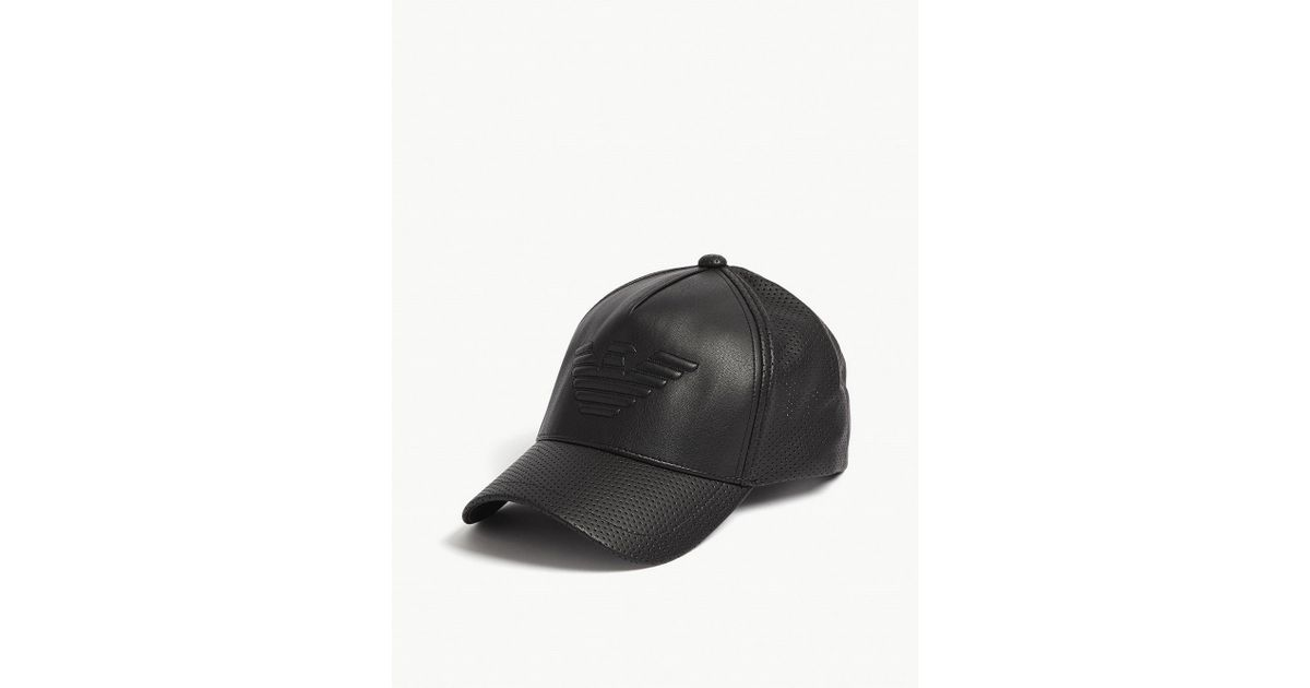 1be9697b6f2 Lyst - Emporio Armani Eagle Faux-leather Snapback Cap in Black for Men