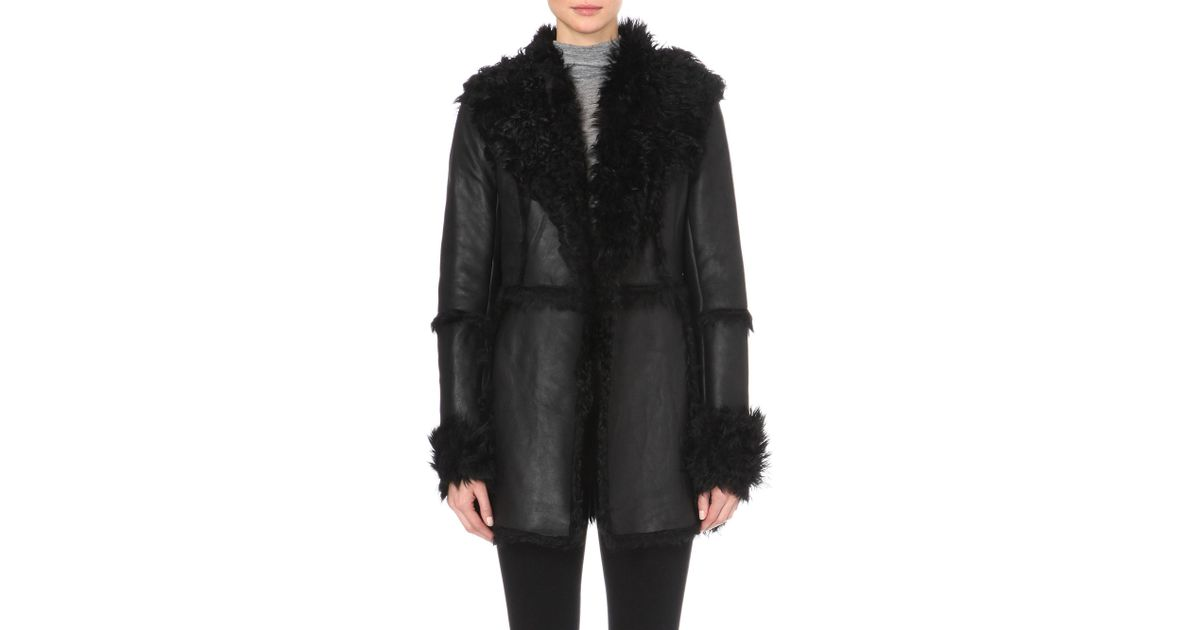 French connection black shearling coat