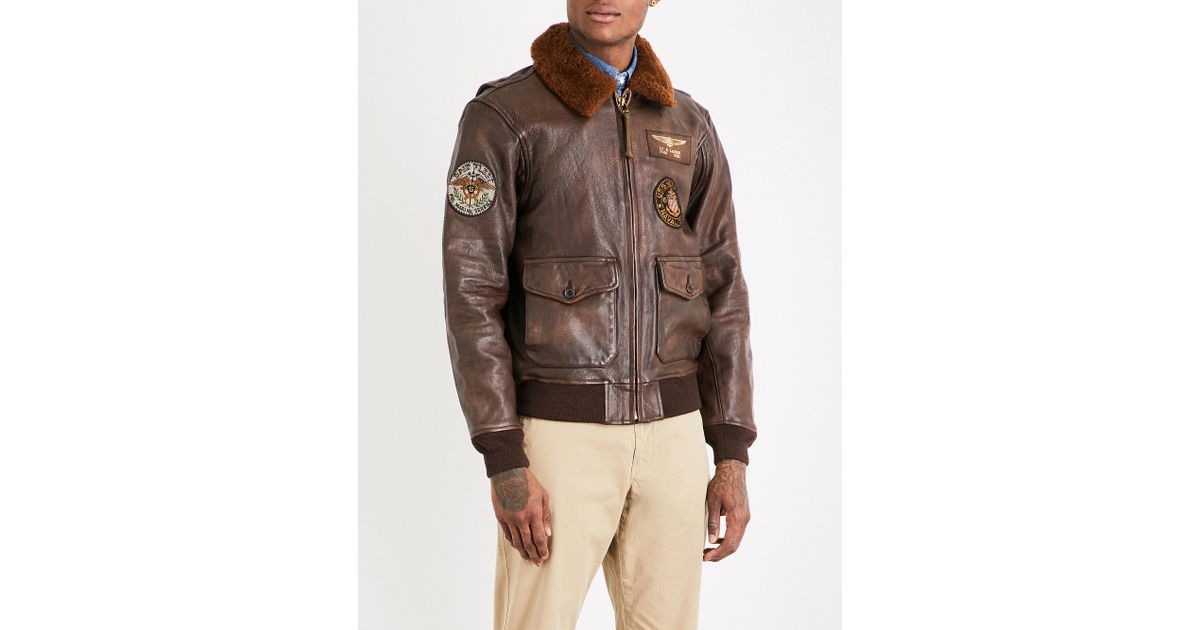 fa340ad9811 Lyst - Polo Ralph Lauren G1 Leather Bomber Jacket in Brown for Men