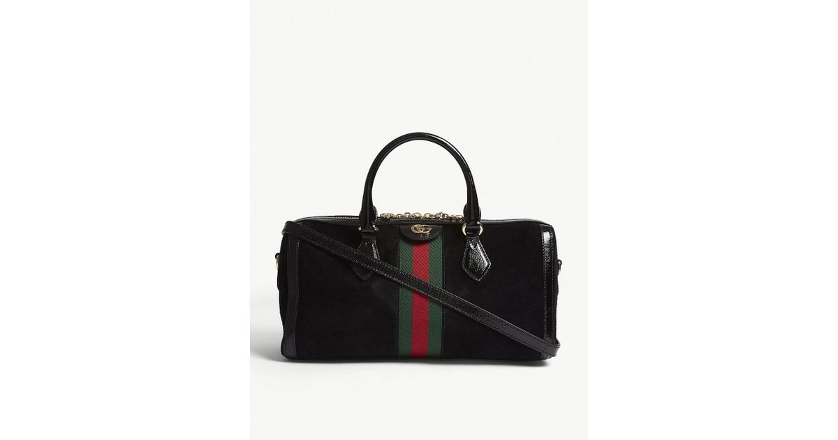 Lyst - Gucci Black Stripe Ophidia Suede And Leather Boston Bag in Black 307179a6aba20