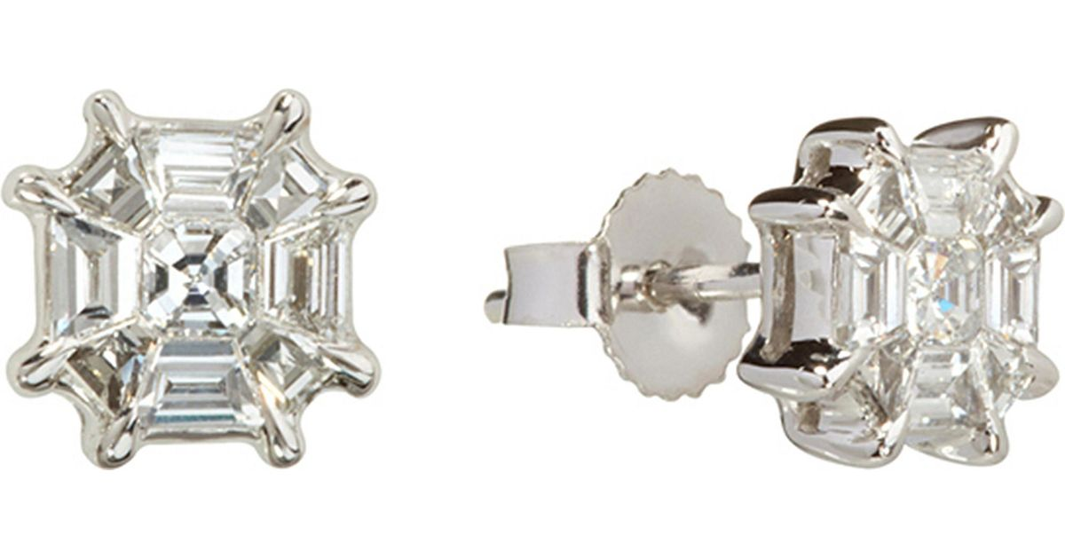 Lyst Annoushka Pavilion 18ct White Gold And Diamond Stud Earrings In Metallic