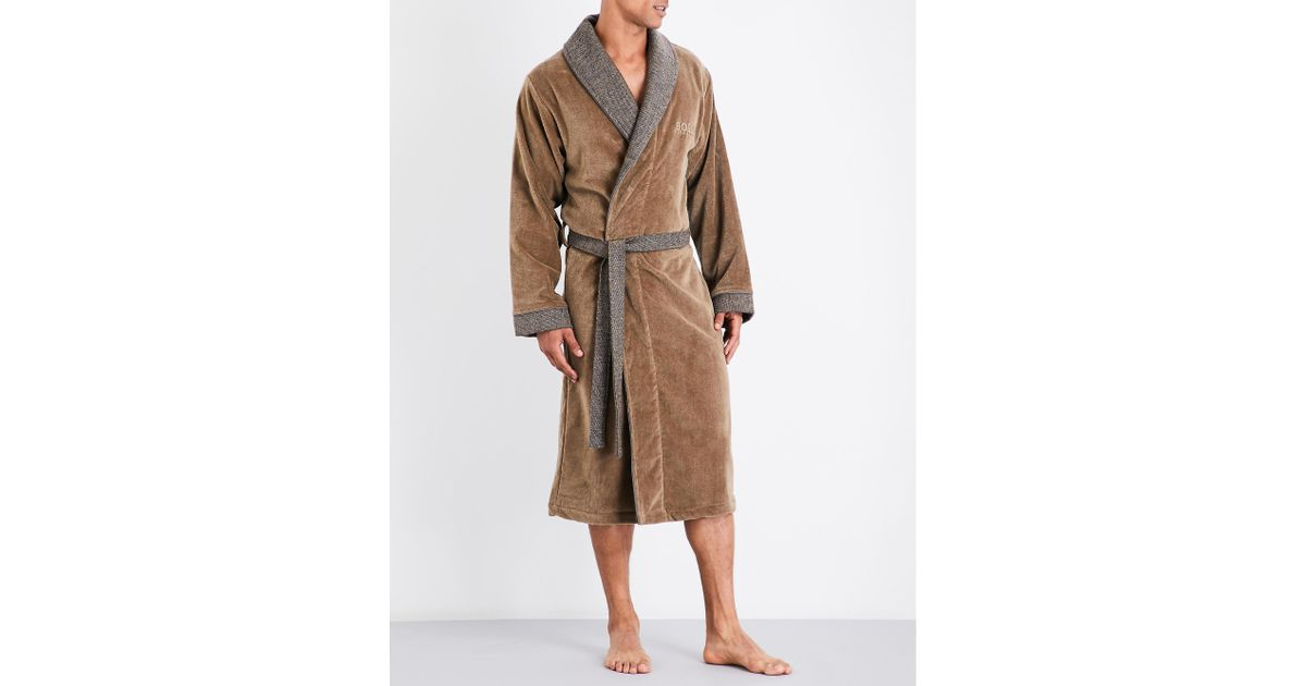 6192379d3518 BOSS Lord Kimono Cotton Dressing Gown in Brown for Men - Lyst
