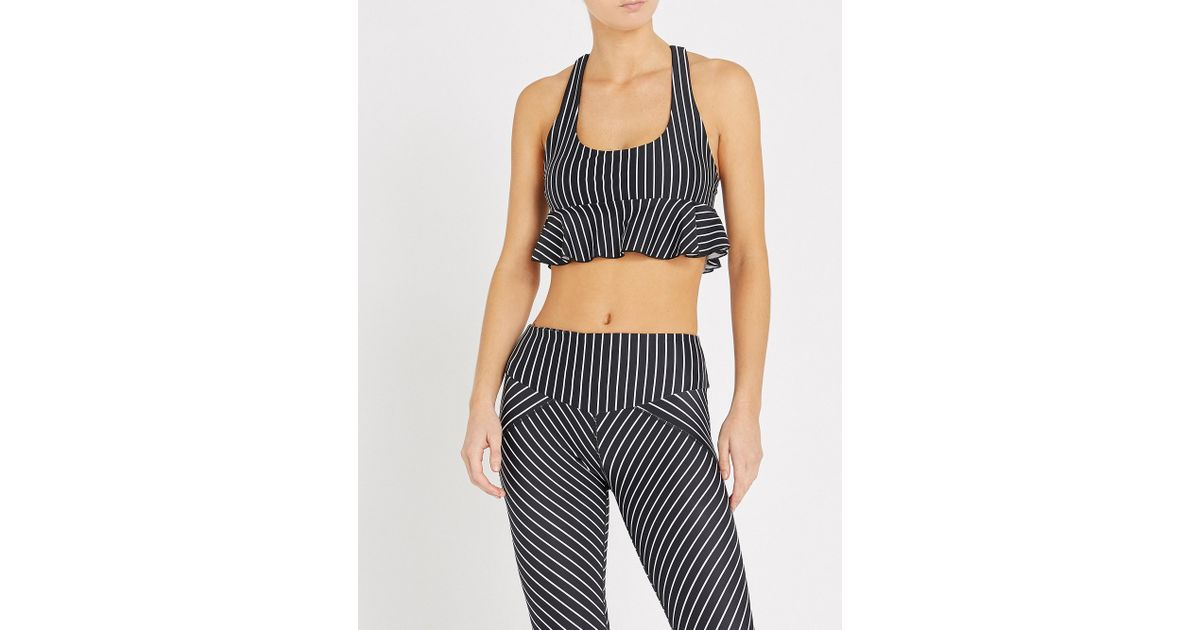 96eaae5a20 Lyst - L urv Earning Stripes Frill-detail Stretch-jersey Bralette in Black