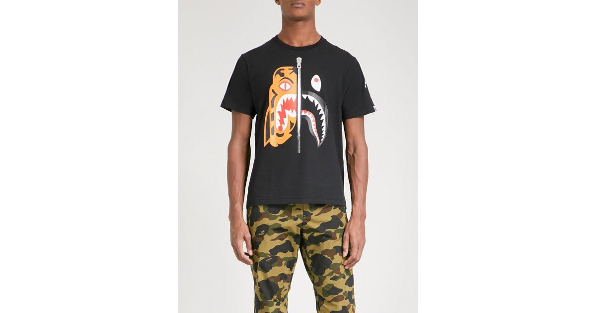 438b66e44 A Bathing Ape Tiger Shark Cotton-jersey T-shirt in Black for Men - Lyst
