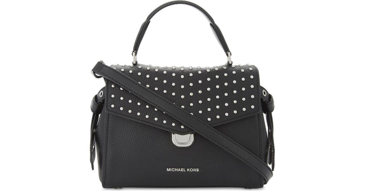 dfd9d6945a2571 MICHAEL Michael Kors Bristol Studded Leather Satchel Bag in Black - Lyst