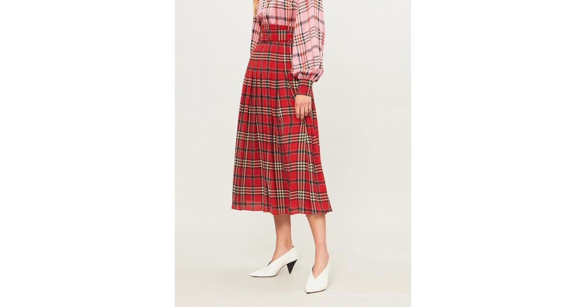 cd97b933bf Emilia Wickstead Checked Pleated Woven Midi Skirt in Red - Lyst