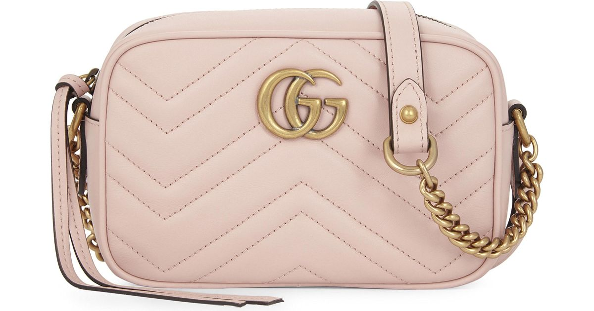 2d2334ed35da2b Gucci Gg Marmont Small Quilted Leather Camera Cross-body Bag in Pink - Lyst