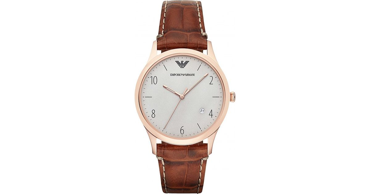 61229a28a56f Lyst - Emporio Armani Ar1866 Beta Leather Watch in Brown
