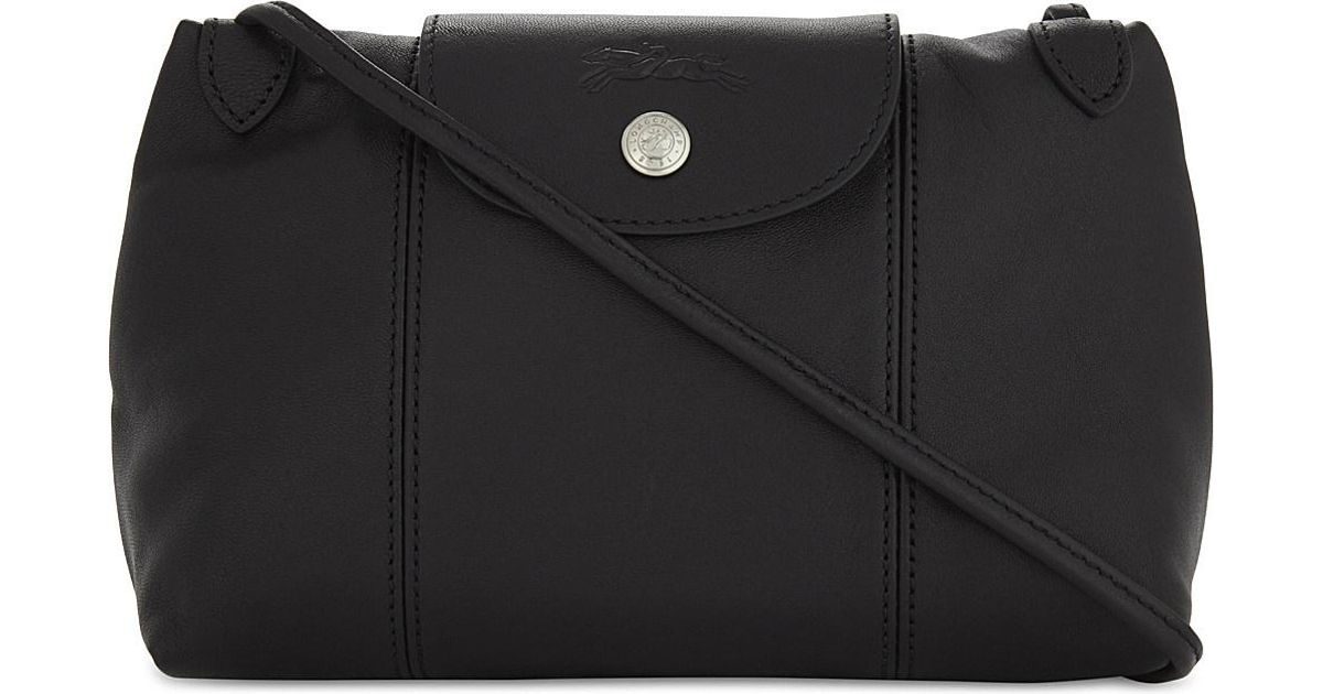 Longchamp Le Pliage Cuir Leather Cross-body Bag in Black - Lyst 3cb86d4696546
