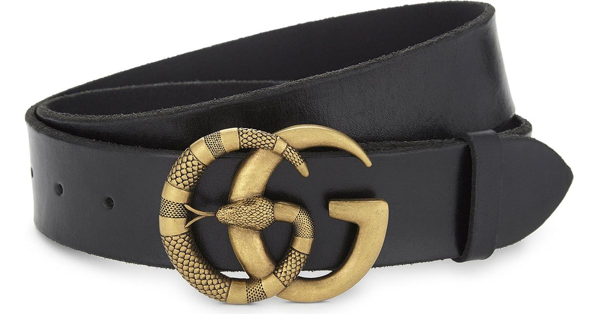 bf20c0a0bf0 Lyst - Gucci Snake Gg Buckle Leather Belt in Black for Men
