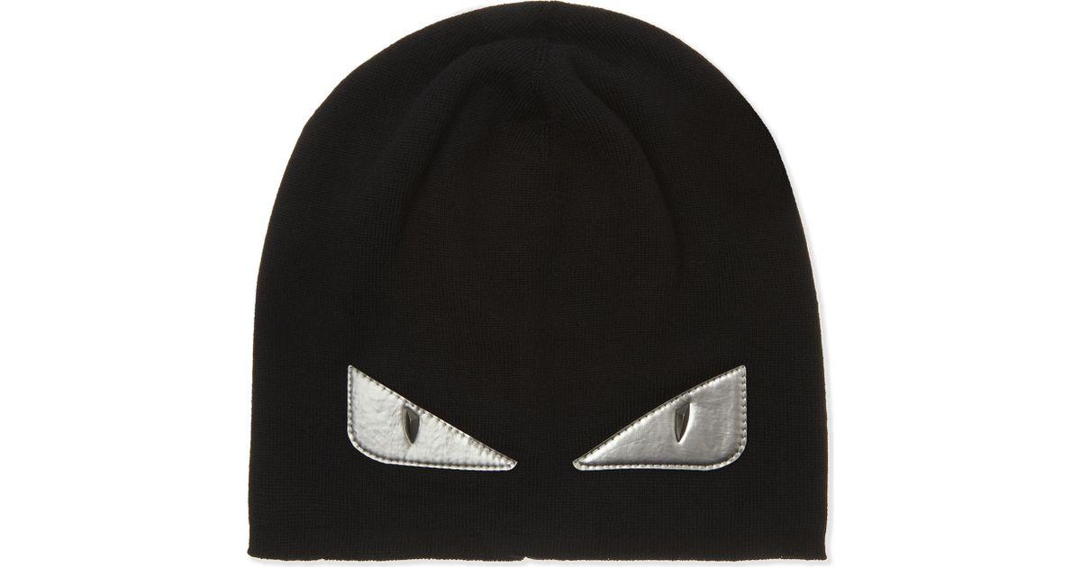 b5b08aba140 Fendi Monster Eyes Hat in Black for Men - Lyst