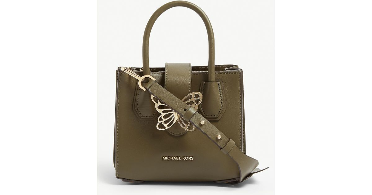 6248b4be2f5ca6 MICHAEL Michael Kors Mercer Butterfly Leather Tote in Green - Lyst
