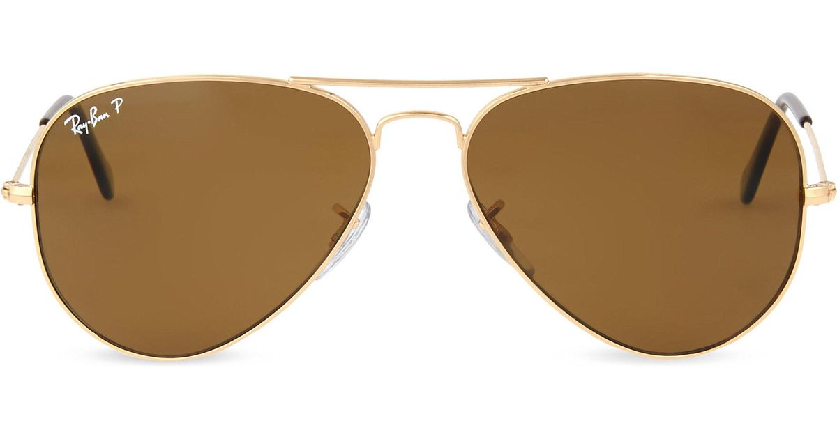 eb481852e4 ... cheap lyst ray ban original aviator metal frame sunglasses with brown  lenses rb3025 58 in metallic