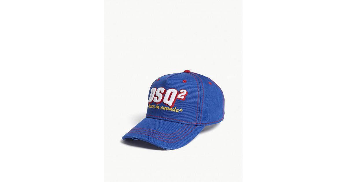 b45701e4bbb13f DSquared² Born In Canada Cotton Strapback Cap in Blue for Men - Lyst