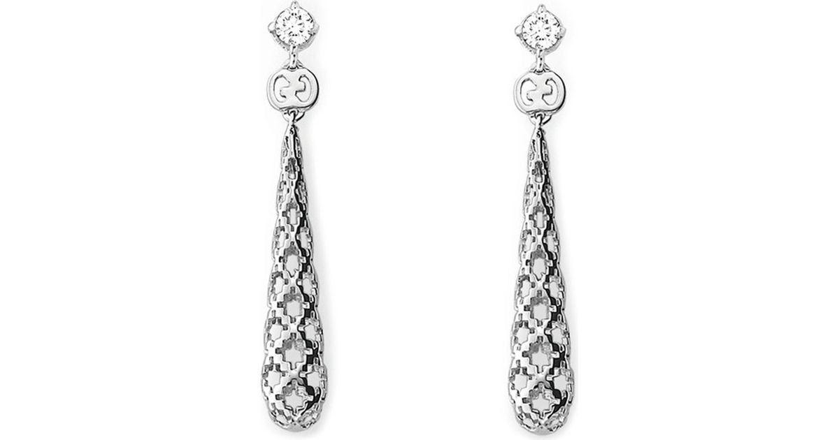 65e537c6947 Lyst - Gucci Diamantissima 18ct White-gold And Diamond Drop Earrings in  Metallic