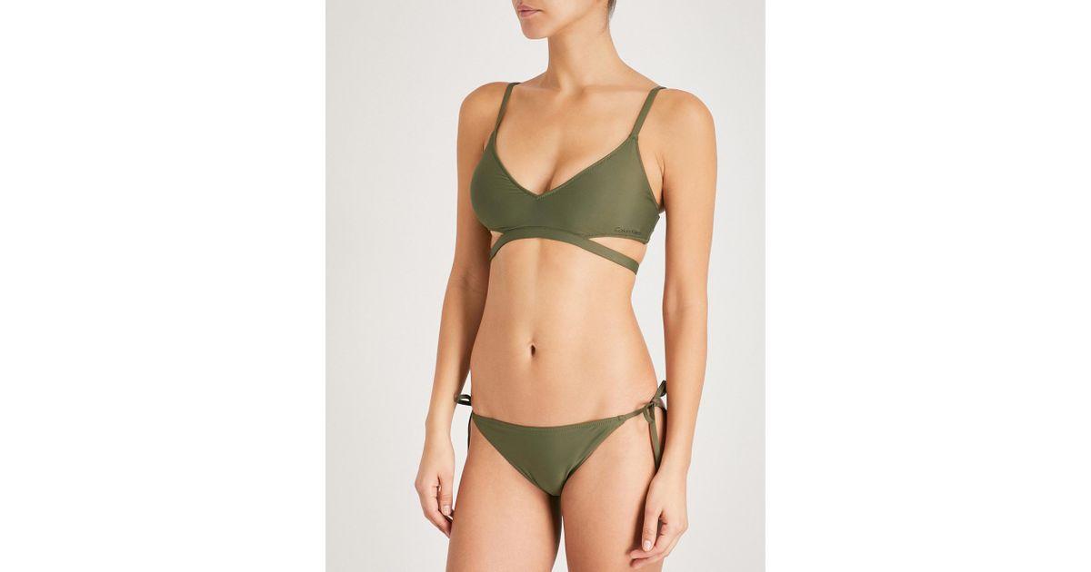 908501a76f CALVIN KLEIN 205W39NYC Core Neo Triangle Bikini Top in Green - Lyst
