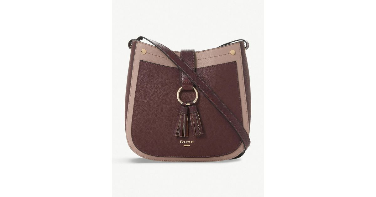 74f181645a84 Dune Berry Red Doory Faux Leather Crossbody Bag in Brown - Lyst