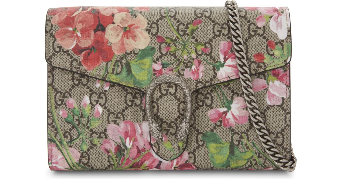 Lyst - Gucci Dionysus Gg Supreme Floral-print Wallet-on-chain