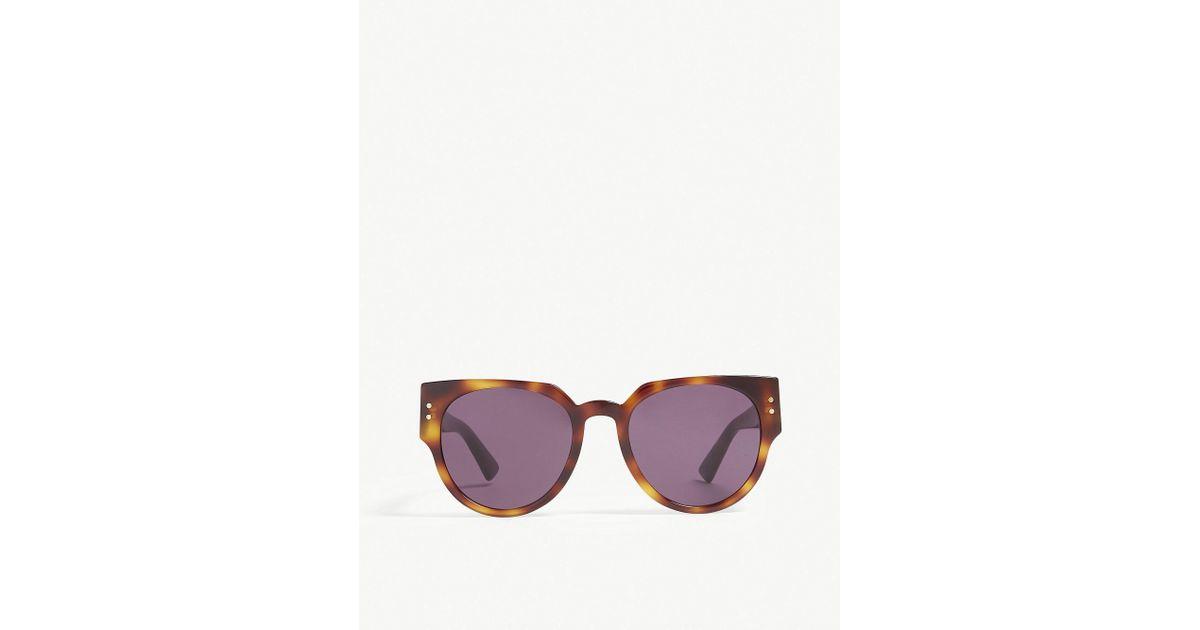 c5bb520b08bb Dior Ladystuds3 Cat-eye-frame Sunglasses in Brown - Lyst