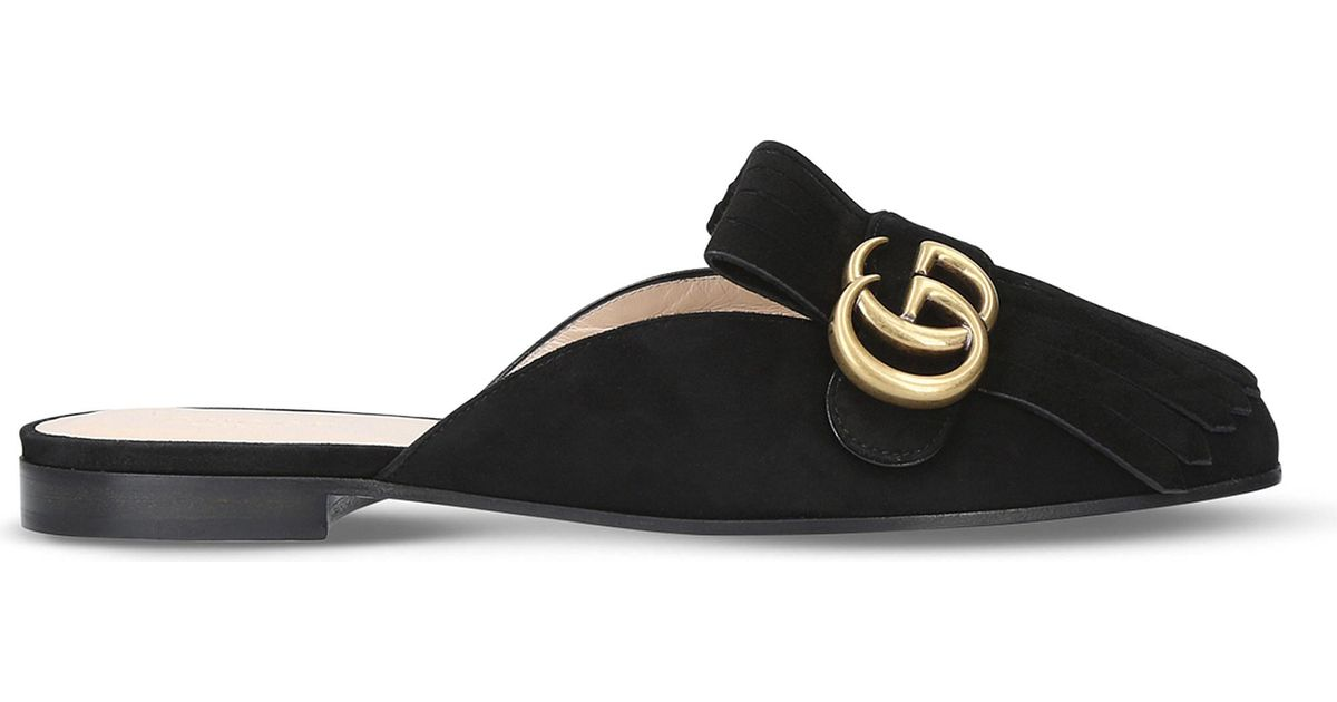 2dd82a100 Gucci Marmont Suede Slippers in Black - Lyst