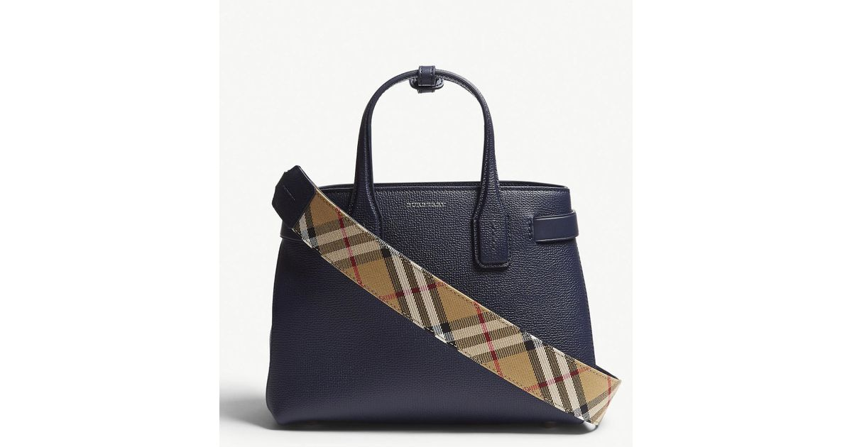 86ec535dcf8 Burberry Regency Blue Check Vintage Banner Grained Leather Tote Bag in Blue  - Save 22% - Lyst
