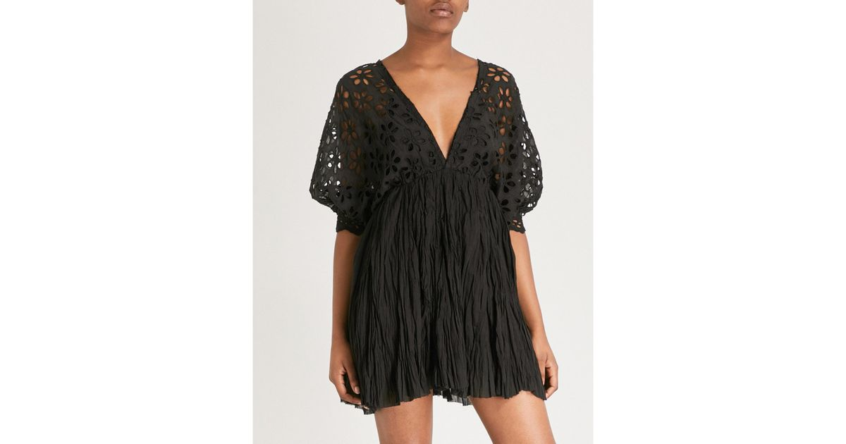 2c0dfd0317b93 Lyst - Free People Bella Note Cotton And Woven Mini Dress in Black