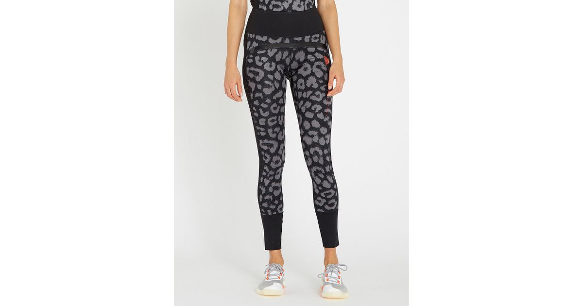90e0a60b8899e Lyst - adidas By Stella McCartney Belive This Comfort Leopard-print  Stretch-jersey leggings in Black