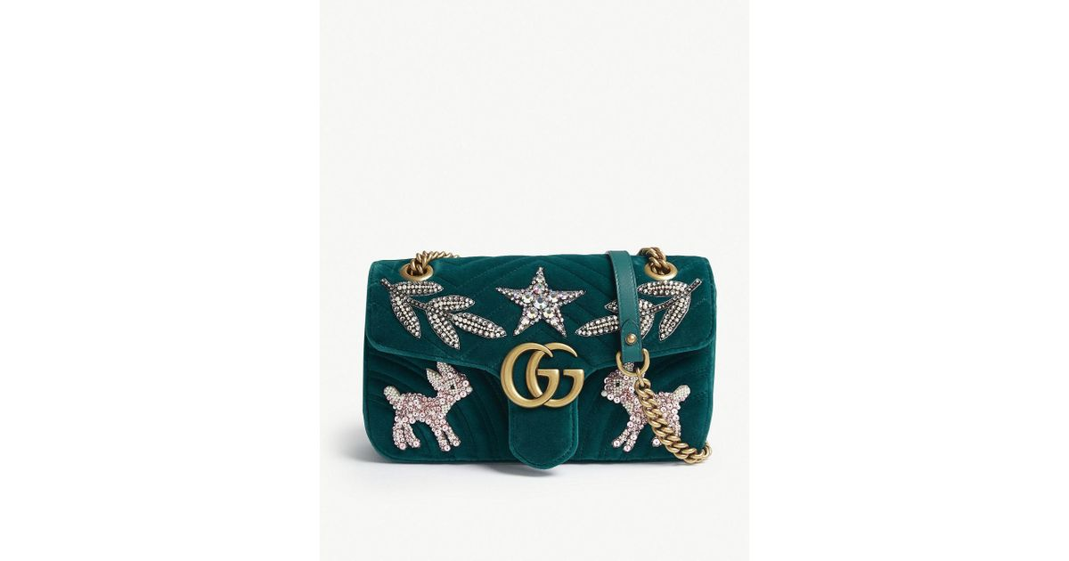 4ca8f195986 Gucci Gg Marmont 2.0 Matelassé Velvet Shoulder Bag in Green - Lyst