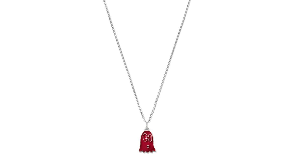 186fba915 Lyst - Gucci Ghost Sterling Silver And Enamel Ghost Necklace in Metallic
