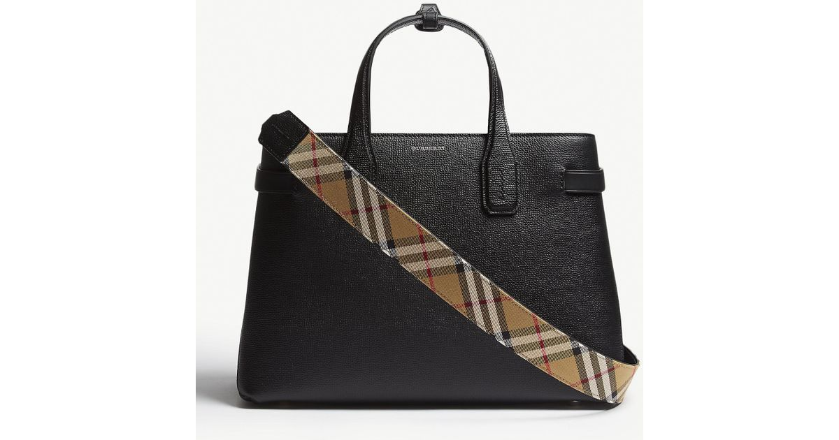 e3df9311bf Burberry Black Check Vintage Banner Grained Leather Tote Bag in Black -  Save 35% - Lyst