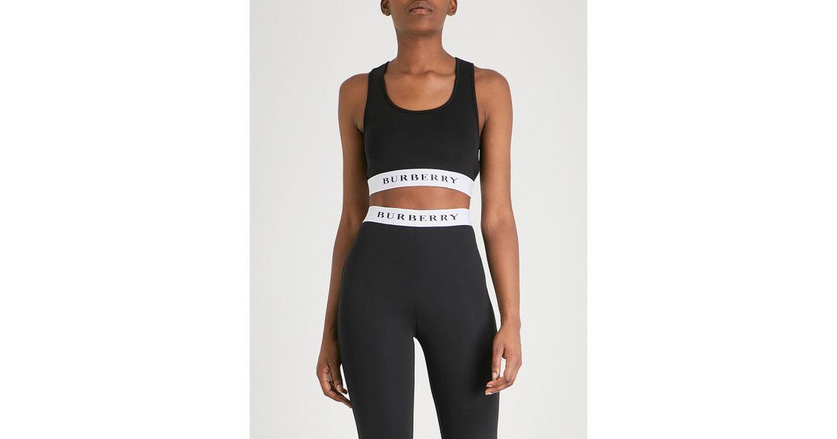 723194e22dbda Burberry Betwa Stretch-jersey Crop Top in Black - Lyst
