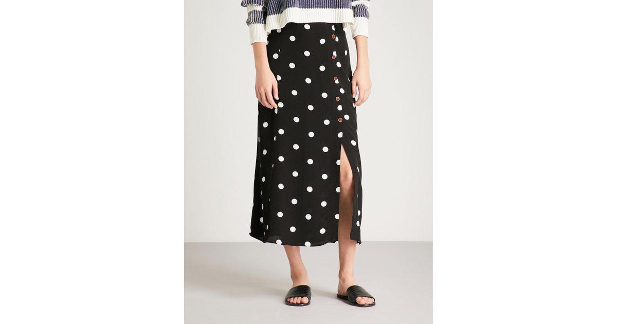 10e82eb198bd07 Free People Retro Love Crepe Midi Skirt in Black - Lyst