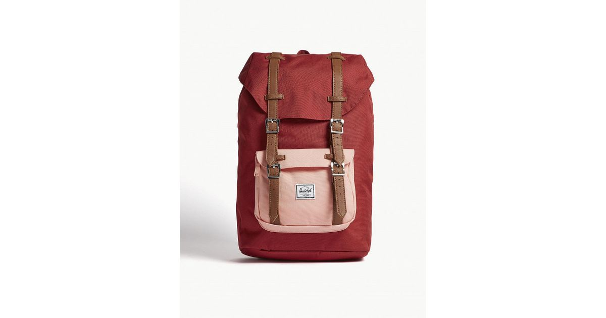 857fb21080a Lyst - Herschel Supply Co. . Brick Red And Peach Pink Little America  Backpack in Red for Men