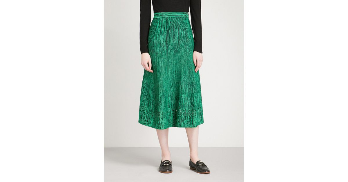 Lyst - Sandro Woven-pattern Knitted Skirt in Green