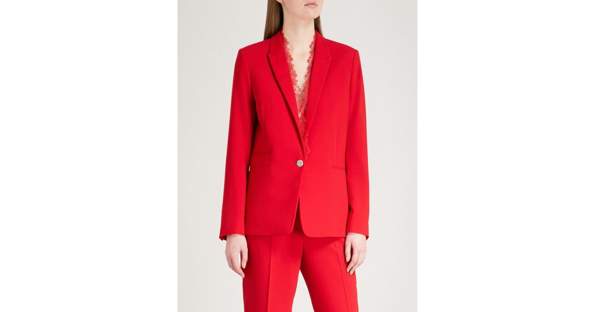 174b2623827fb The Kooples Lace-trim Crepe Jacket in Red - Lyst