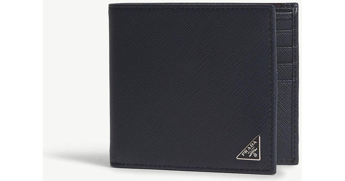 2ed60b2c6303 Lyst - Prada Saffiano Leather Billfold Wallet in Blue for Men