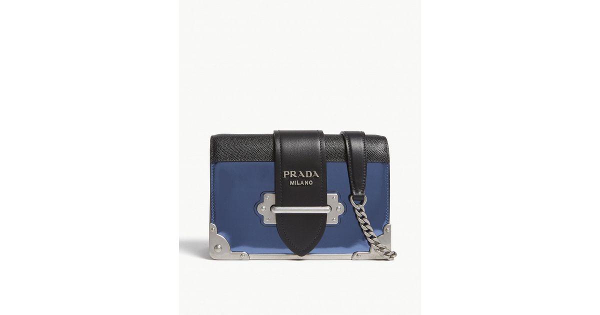 b84e74d6463d ... cheap australia lyst prada blue cahier small metallic leather shoulder  bag in blue b7ceb cca31 5329c