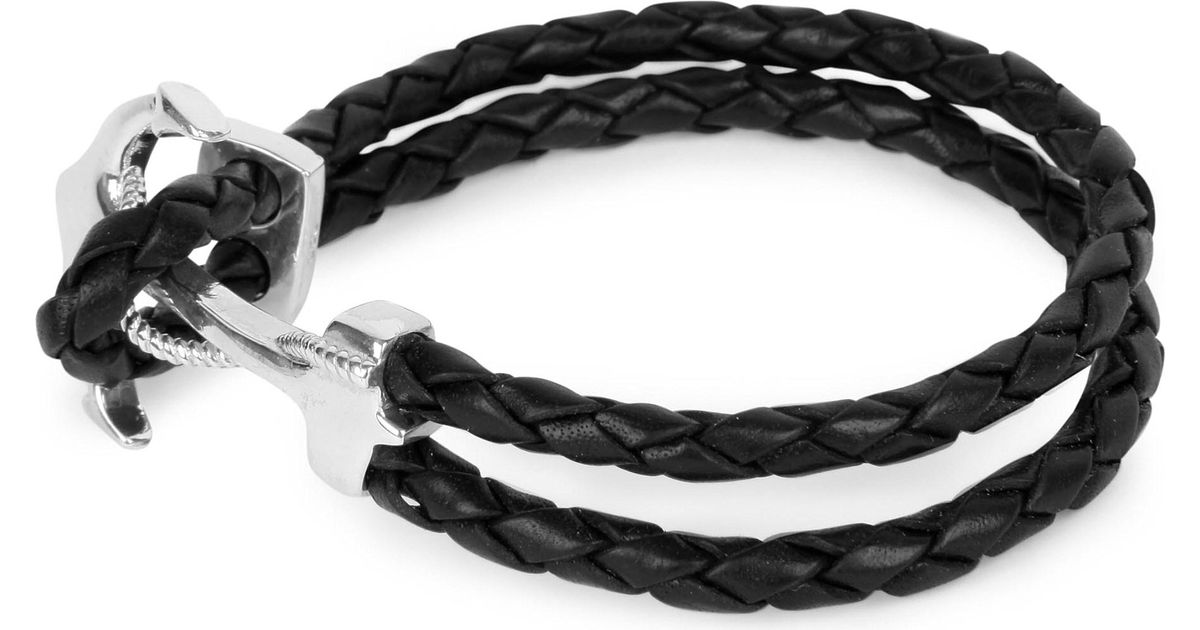 Lyst Nialaya Braided Leather And Silver Anchor Bracelet In Black For Men