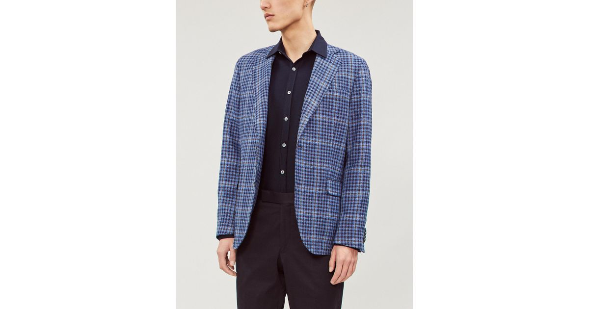 15cefe1750 Oscar Jacobson Checked Regular-fit Wool-blend Blazer in Blue for Men - Lyst