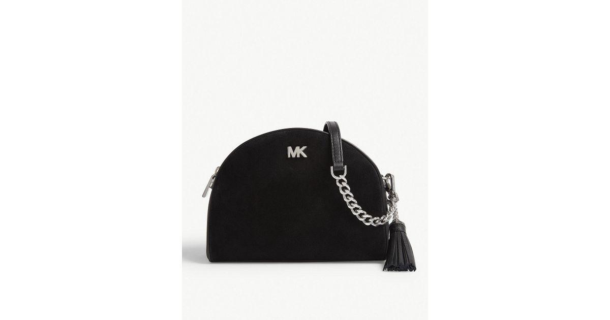131df91524c2 MICHAEL Michael Kors Ginny Leather Half Moon Cross-body Bag in Black - Lyst