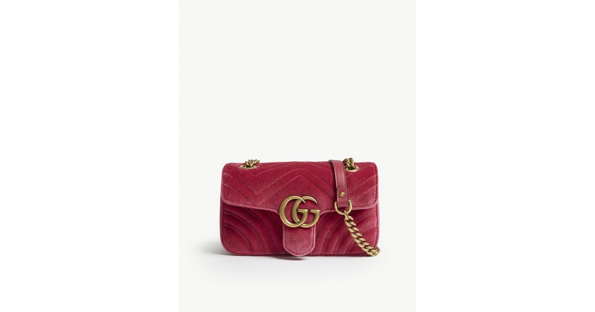 28f9c3c87674 Gucci Ladies Raspberry Pink Gg Marmont Heart-embroidered Velvet Shoulder Bag  - Lyst