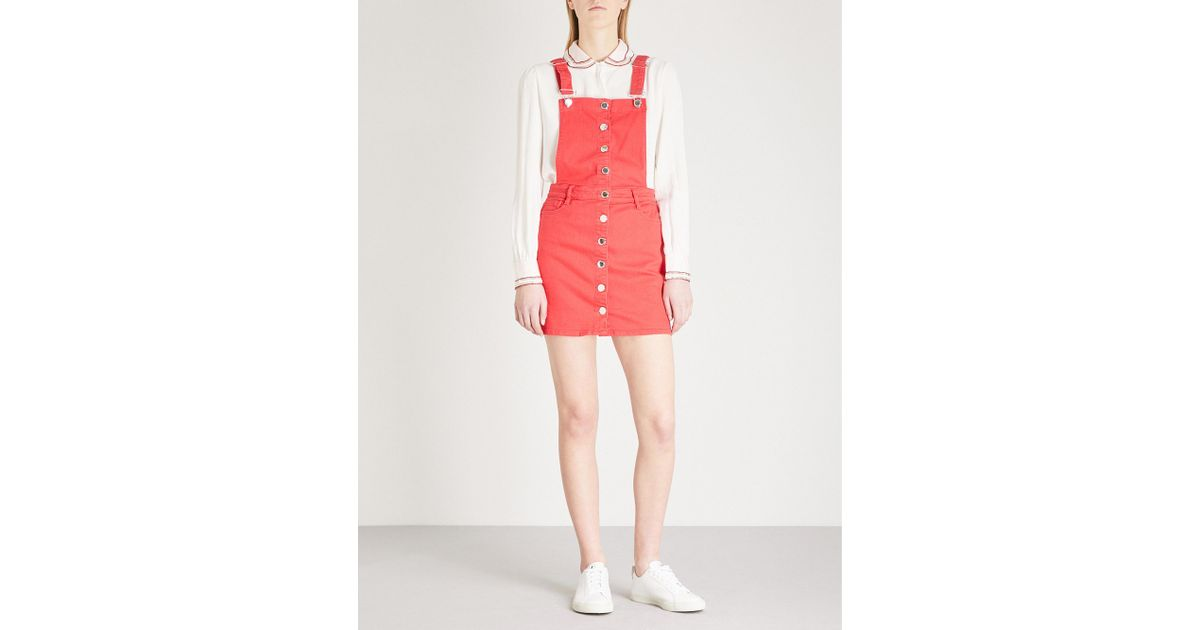 3ce7bd0181 Maje Denim Dungaree Dress in Red - Lyst